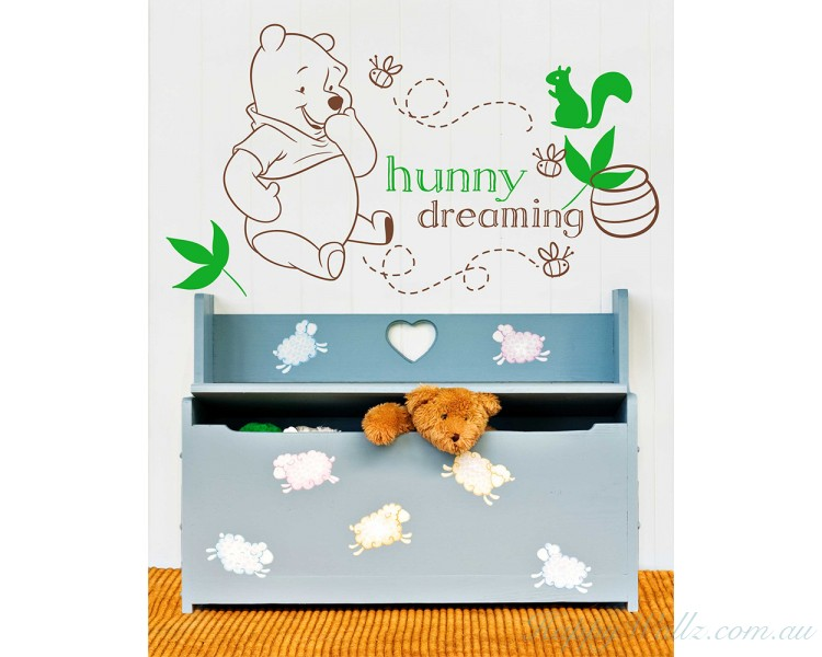 Cute Heart Bear Personalized Children Name Wall Decal